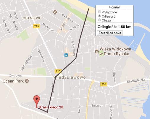 Mapka odległość do plaży